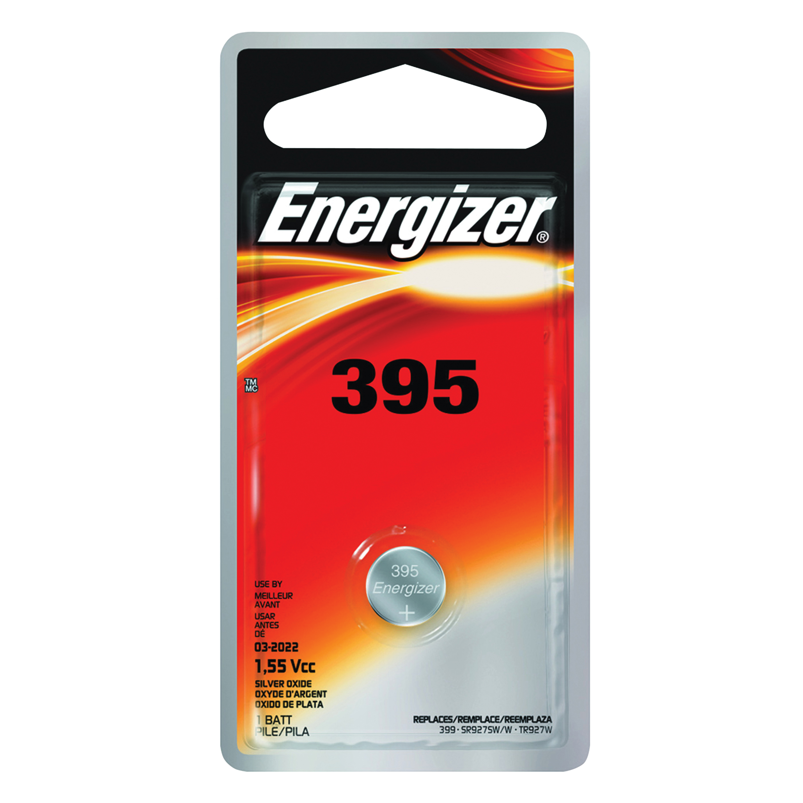 Picture of Energizer 395BPZ Coin Cell Battery, 1.5 V Battery, 51 mAh, 395 Battery, Silver Oxide