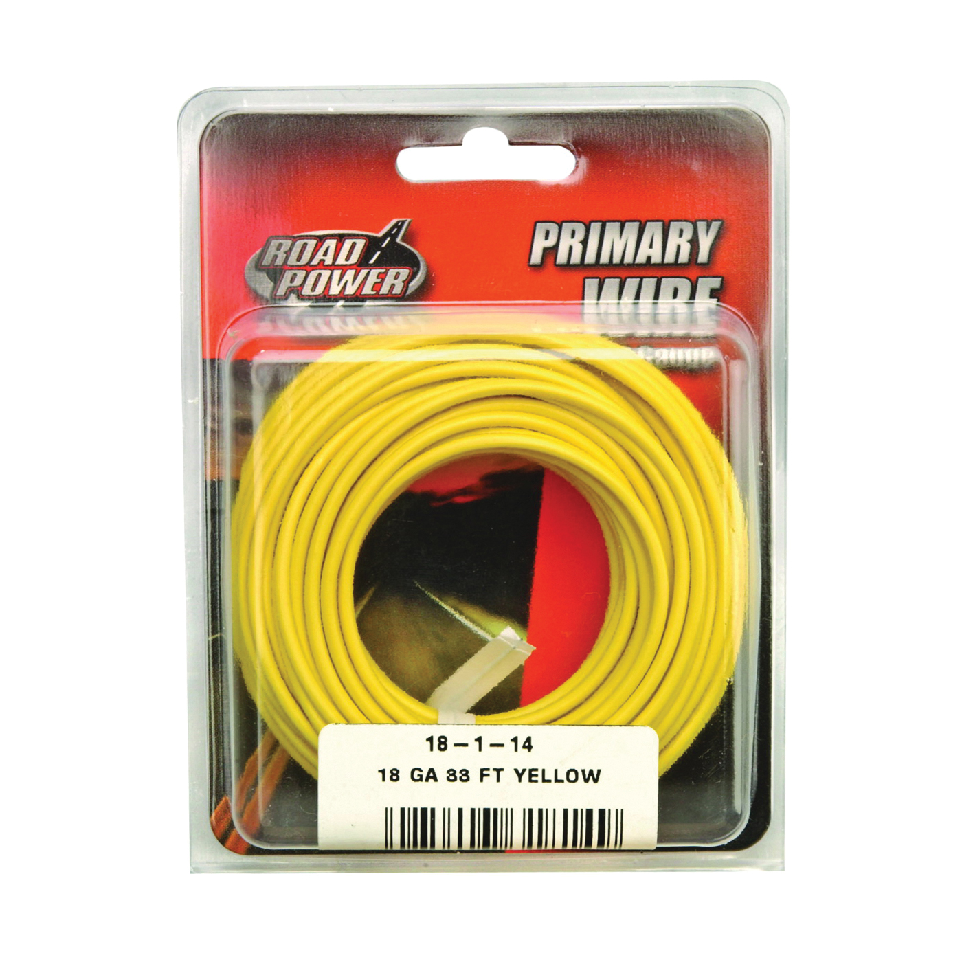 Picture of CCI Road Power 55843833/18-1-14 Electrical Wire, 18 AWG Wire, 25 VAC, 60 VDC, Copper Conductor, Yellow Sheath