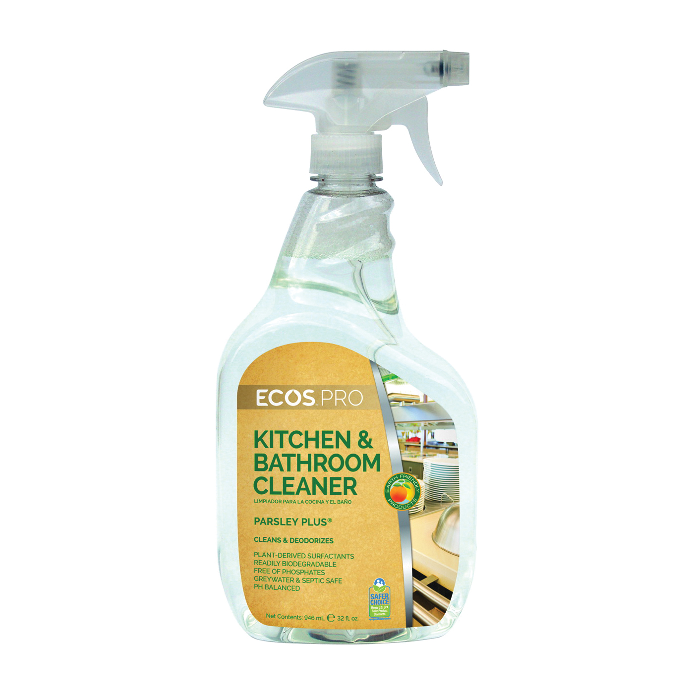 Picture of ECOS PL9746/6 Kitchen/Bathroom Cleaner, 32 oz Package, Bottle, Liquid, Parsley, Water White