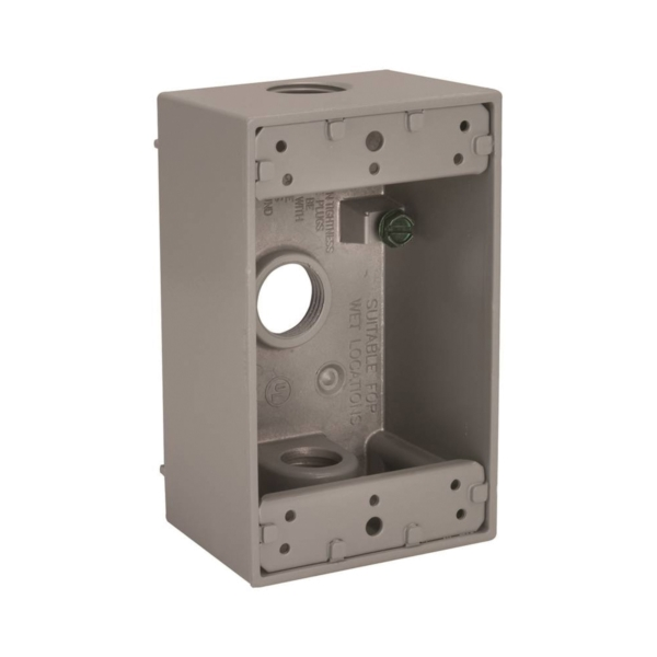 Picture of BELL 5320-0 Box, 3-Outlet, 1-Gang, Aluminum, Gray, Powder-Coated