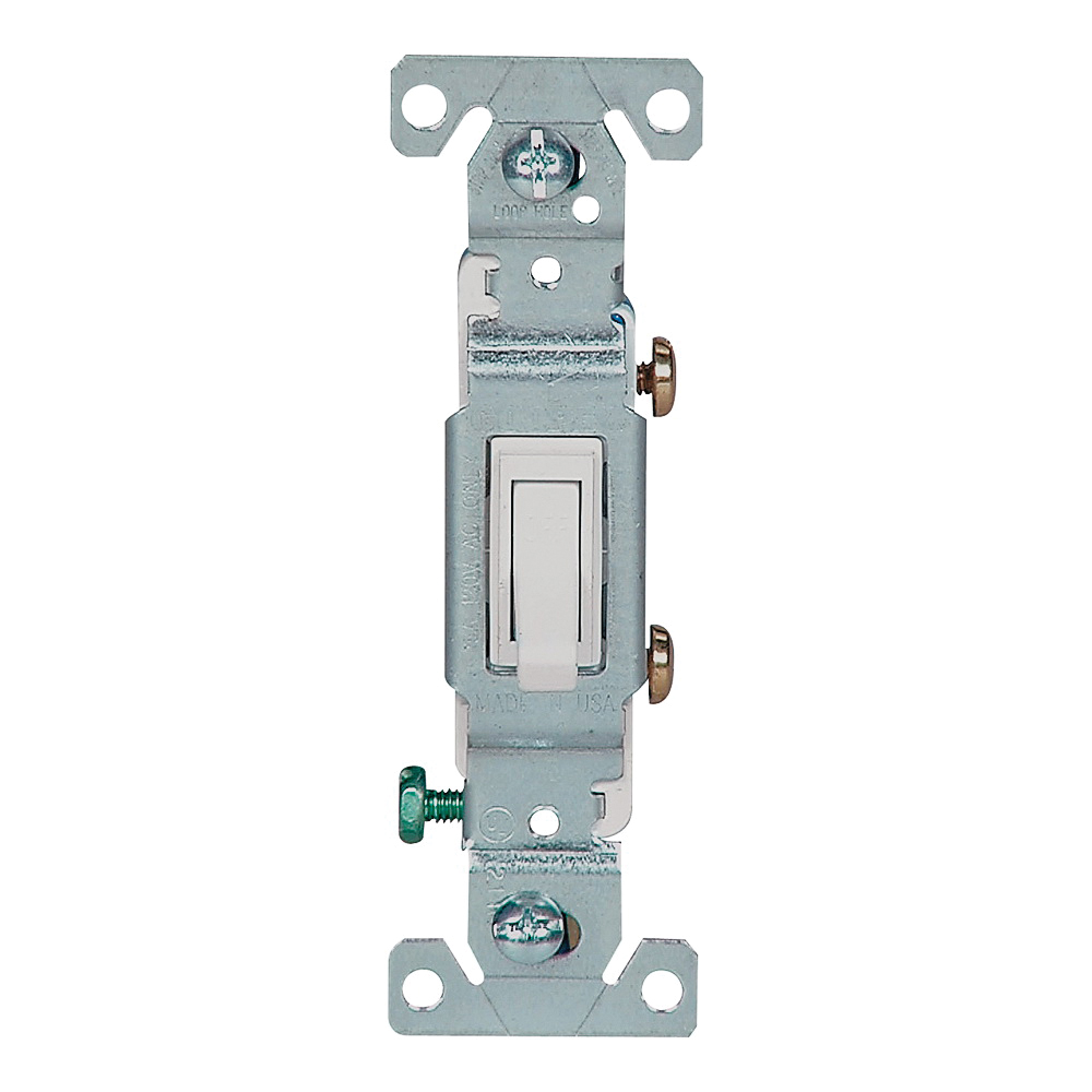 Picture of Eaton Wiring Devices 1301-7W10 Toggle Switch, 15 A, 120 V, Polycarbonate Housing Material, White