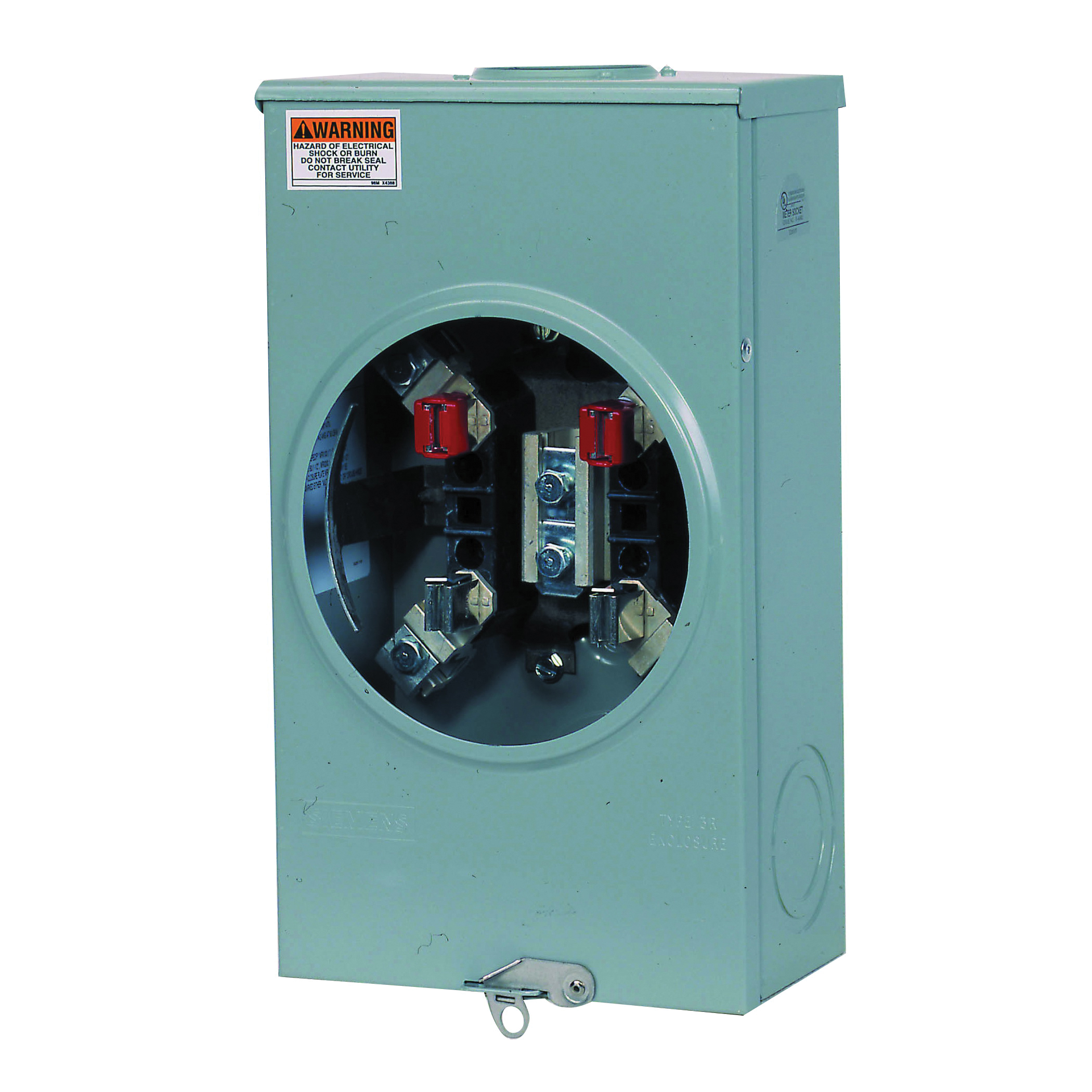 Picture of Siemens SUAT317-0G Meter Socket, 1-Phase, 200 A, 600 V, 4-Jaw, Overhead Feed Cable Entry, NEMA 3R Enclosure