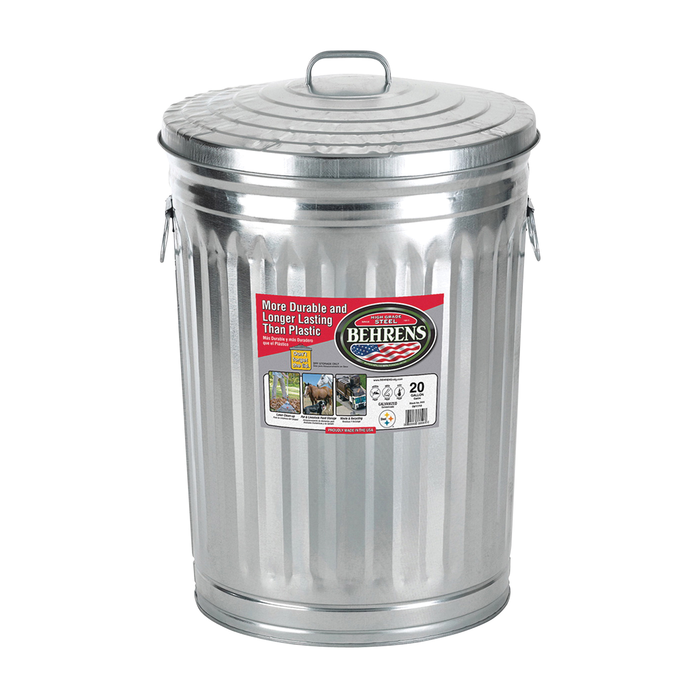 Picture of Behrens 1211 Trash Can, 20 gal Capacity, Steel
