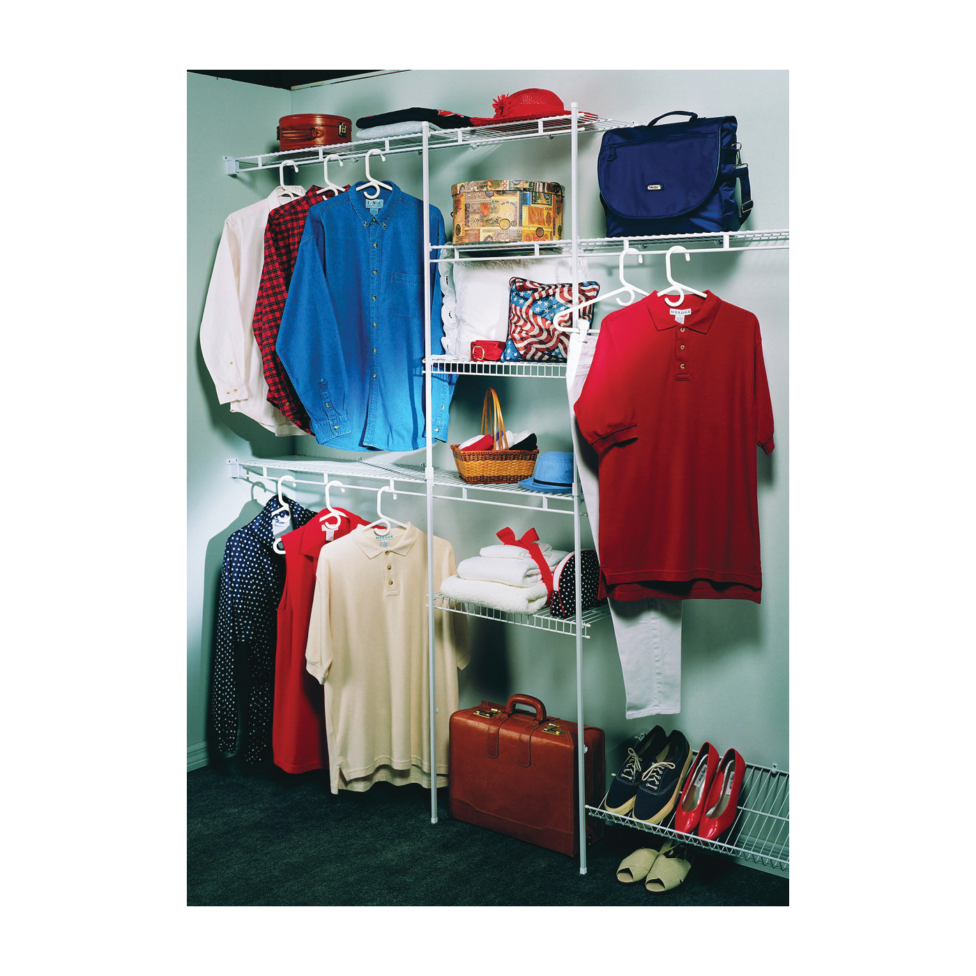 Picture of ClosetMaid 1608 Organizer Kit, Steel, White, Vinyl-Coated