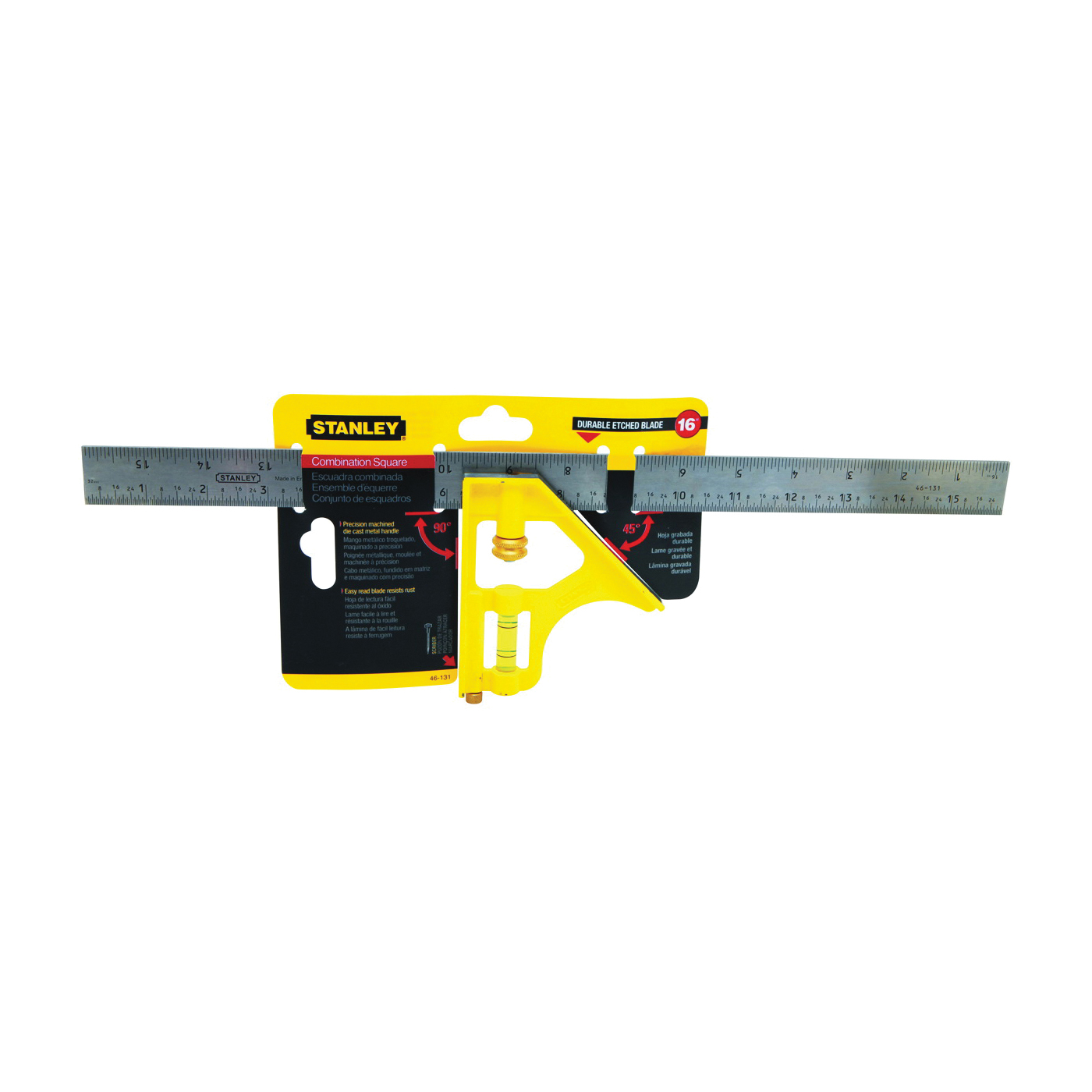Picture of STANLEY 46-131 Combination Square, 1 in W Blade, 16 in L Blade, SAE Graduation, Stainless Steel Blade