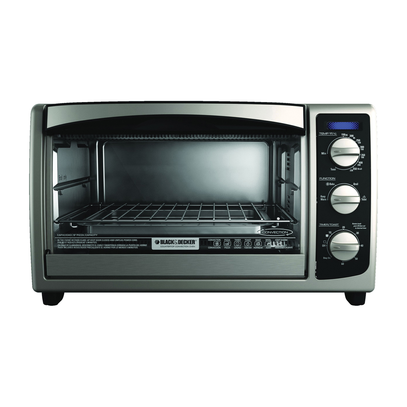 Picture of Black+Decker TO1675B Toaster Oven, 6 Slice/Hr, Stainless Steel, Black