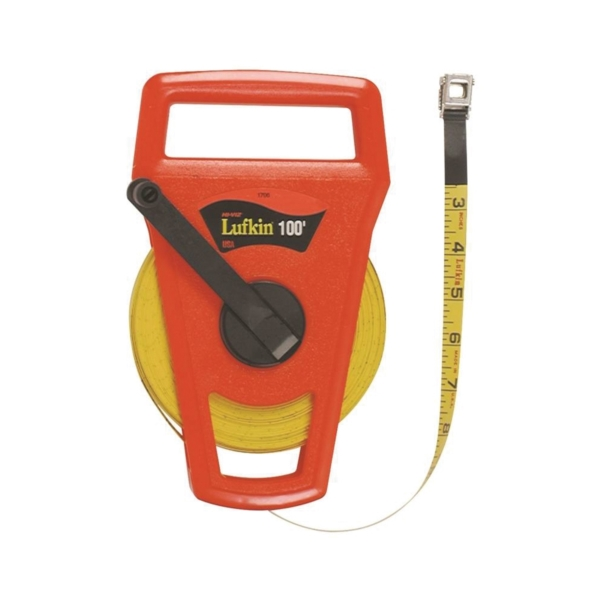Picture of Crescent Lufkin FE100D/1706D Tape Measure, 100 ft L Blade, 1/2 in W Blade, Fiberglass Blade, ABS Case, Orange Case