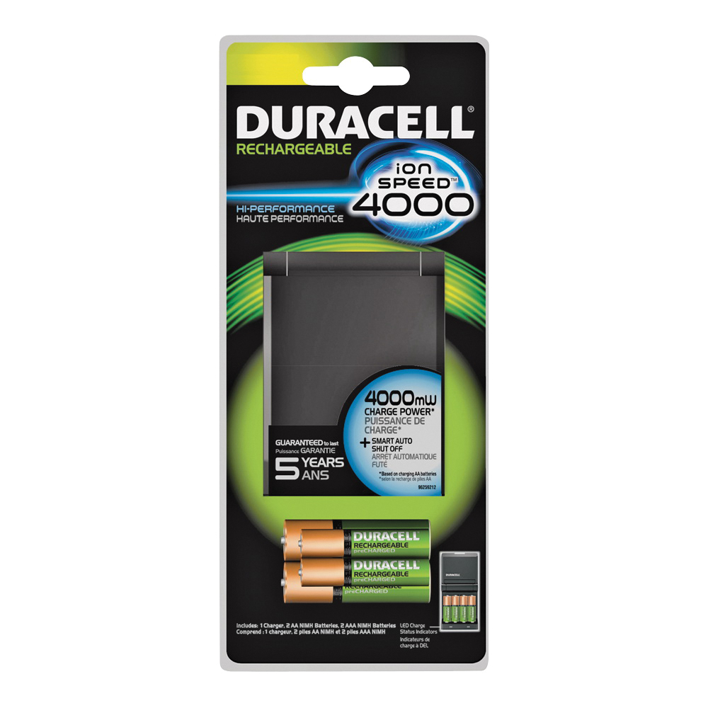 Picture of DURACELL 66105 Battery Charger, AA, AAA Battery, Nickel-Metal Hydride Battery, 4-Battery