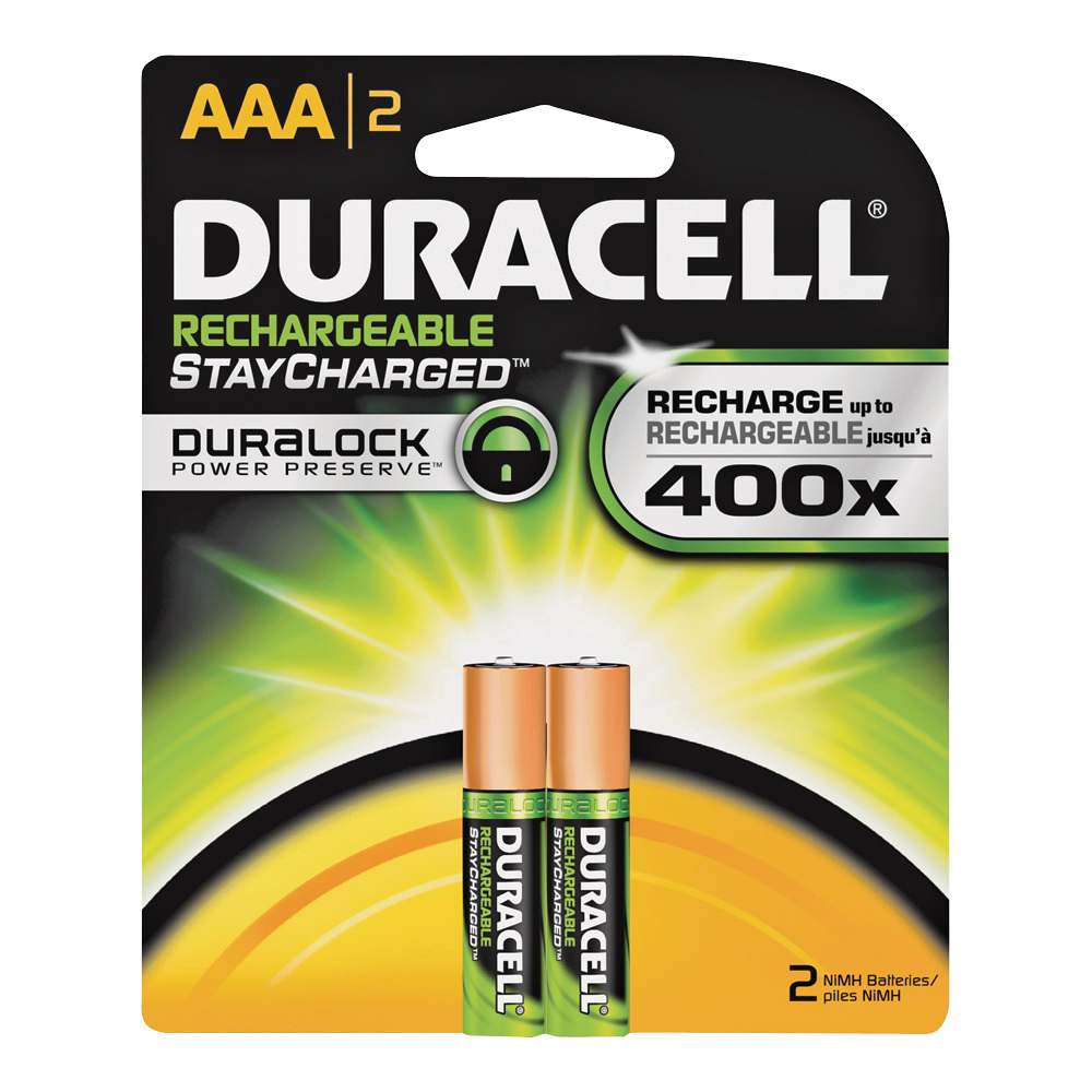 Picture of DURACELL 66158 Rechargeable Battery, 700 mAh, AAA Battery, Nickel-Metal Hydride