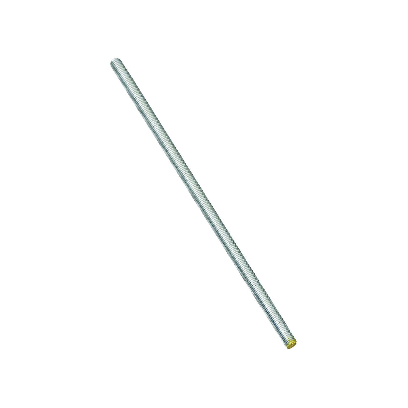 Picture of Stanley Hardware 179606 Threaded Rod, 3/8-16 Thread, 72 in L, A Grade, Steel, Zinc, UNC Thread