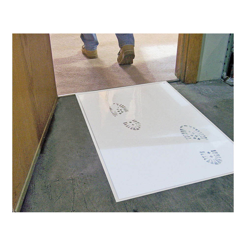 Picture of SURFACE SHIELDS Step N Peel DG30W Reusable Tacky Clean Mat, 31-1/2 in L, 25-1/2 in W, 2 mil Thick, White