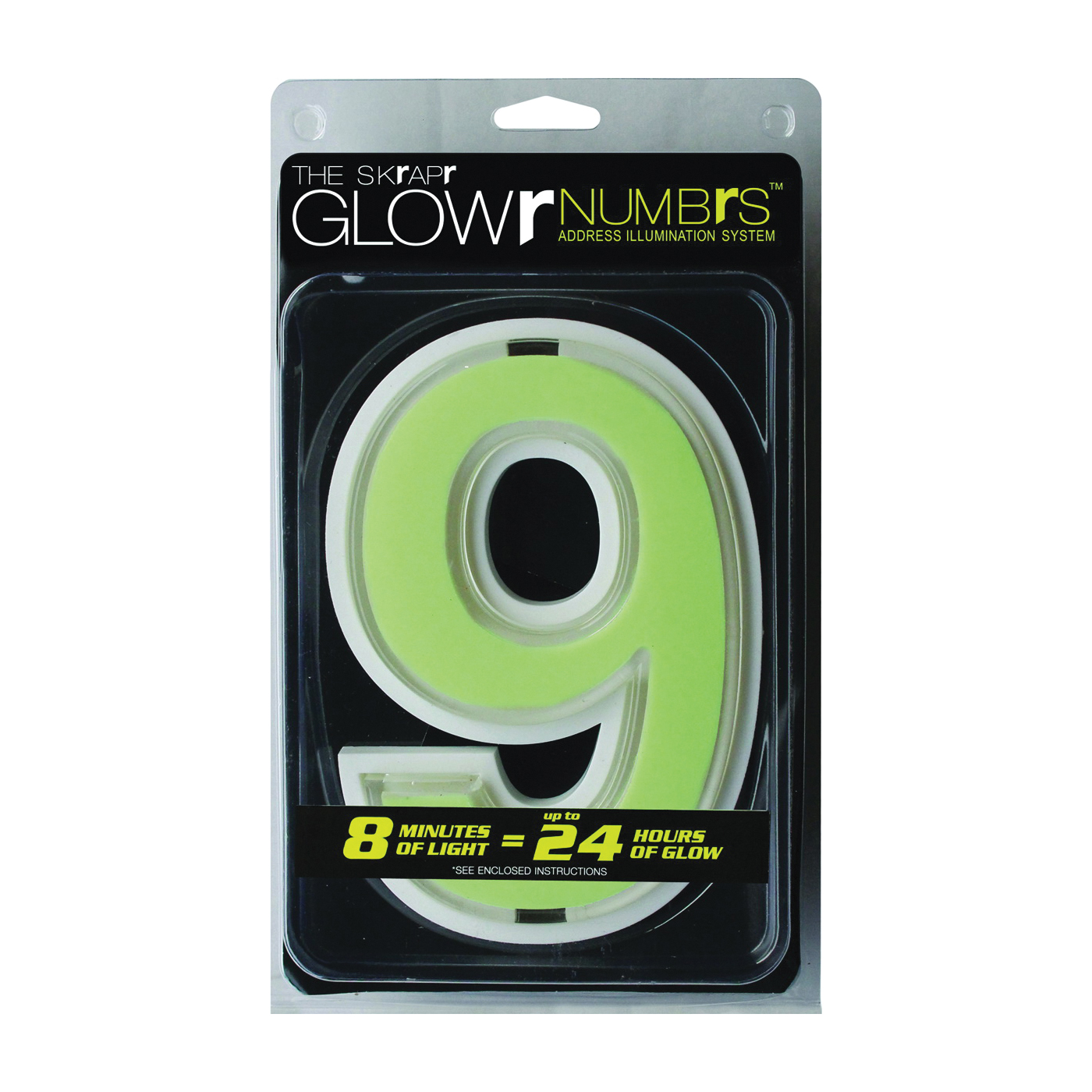 Picture of Glowr GLOWR9-U House Number, Character: 9, Neon Green Character, White Background, Nylon/Polypropylene