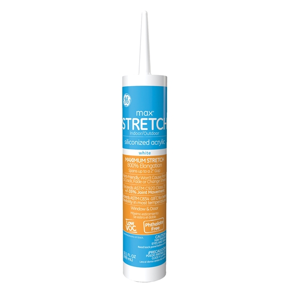 Picture of GE Max Stretch M90044 Silicone Acrylic Caulk, White, -10 to 180 deg F, 10.1 oz Package, Cartridge
