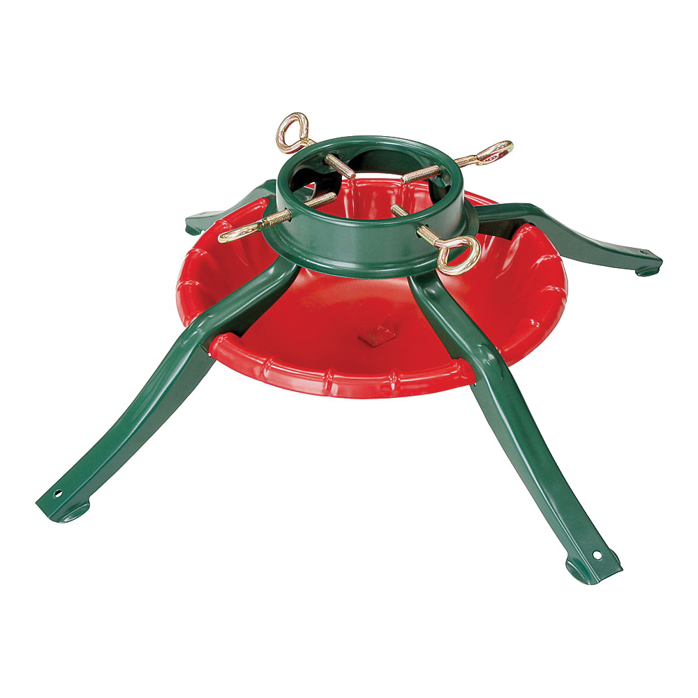 Picture of National Holidays 95-6464 Tree Stand for 8 ft Trees, 7.25 in H, Steel, Red & Green, Powder Coated Steel