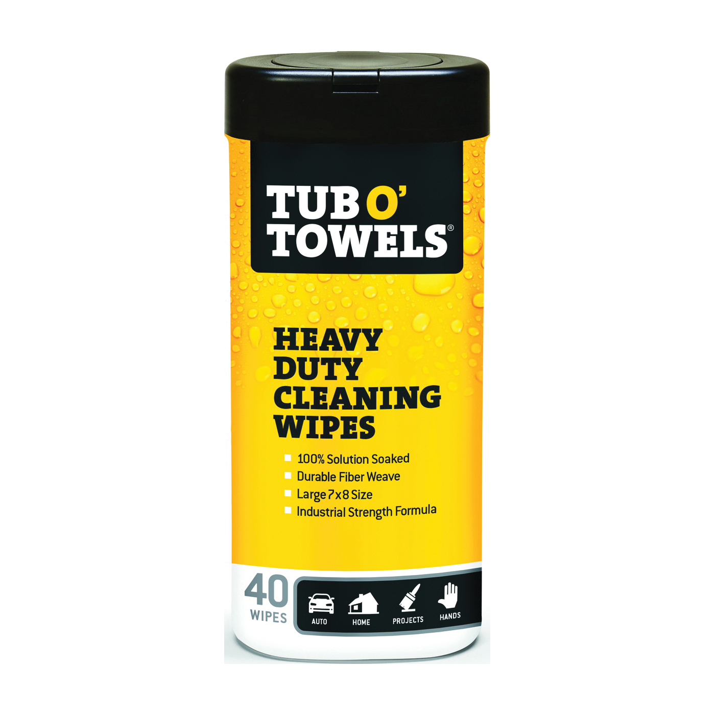 Picture of Tub O'Towels TW40 Cleaning Wipes, 12 in L, 10 in W, Light Citrus, 40