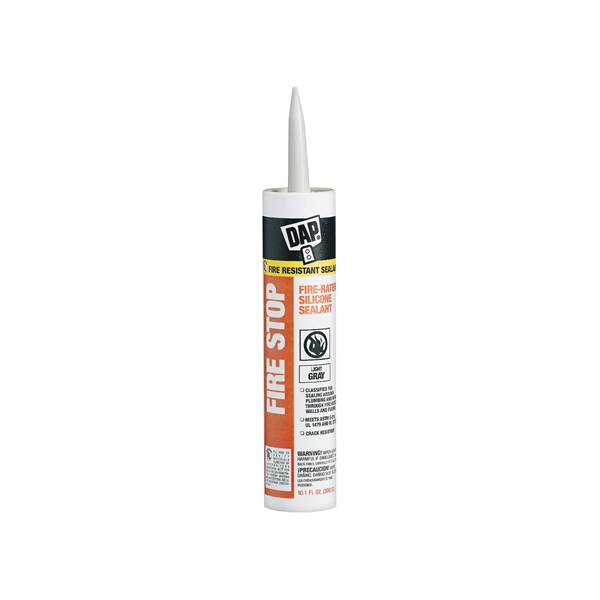 Picture of DAP Fire Stop 18806 Silicone Sealant, Limestone Gray, 40 to 110 deg F, 10.1 oz Package, Cartridge