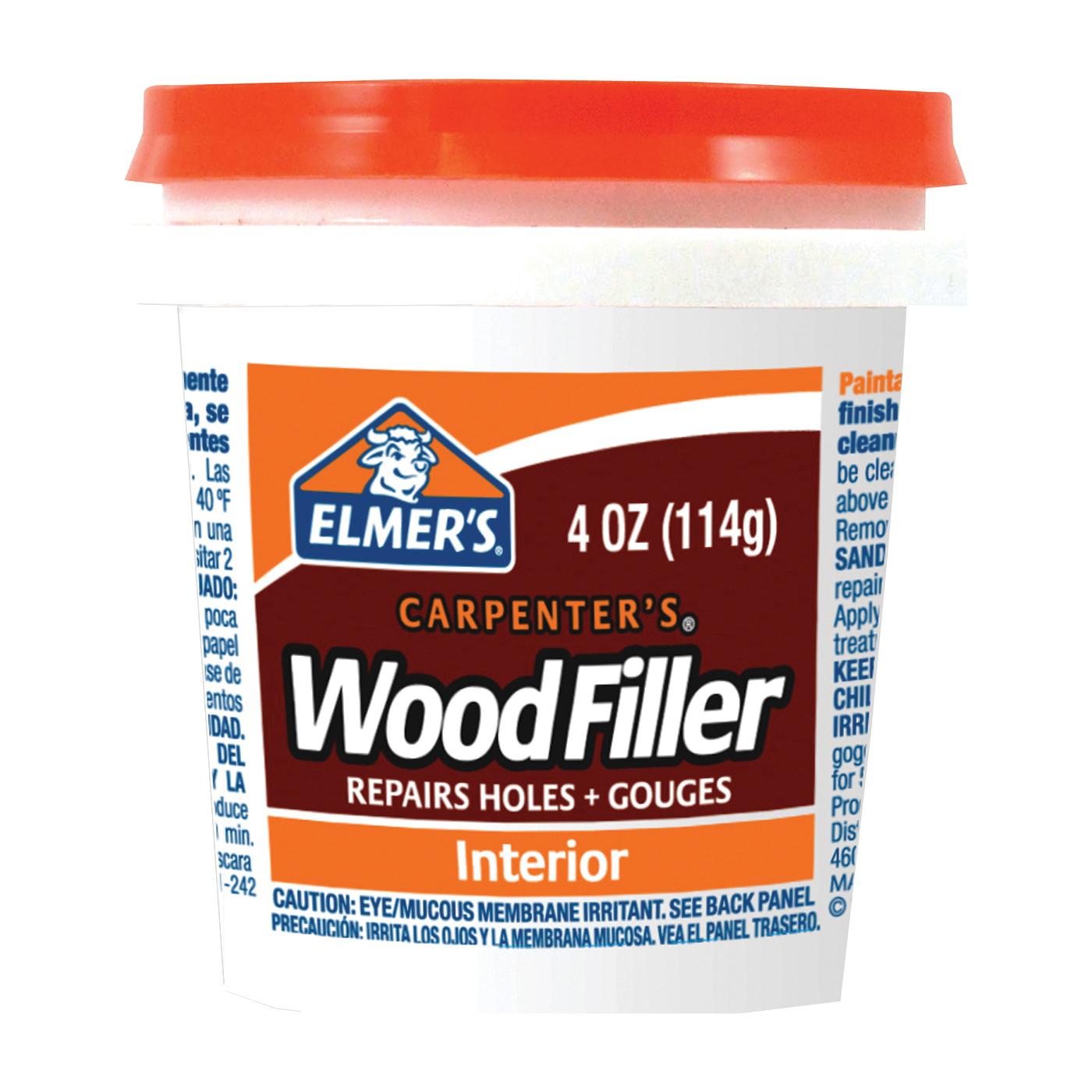 Picture of Elmers E847D12 Wood Filler, Paste, Mild Acrylic, Light Tan, 0.25 pt Package