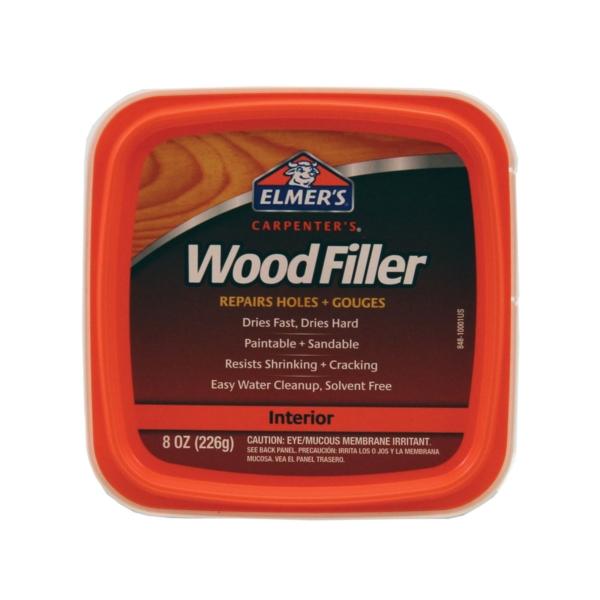 Picture of Elmers E848D12 Wood Filler, Paste, Mild Acrylic, Light Tan, 0.5 pt Package