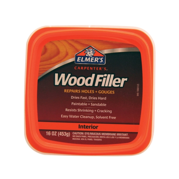 Picture of Elmers E849D8 Wood Filler, Paste, Mild Acrylic, Light Tan, 1 pt Package