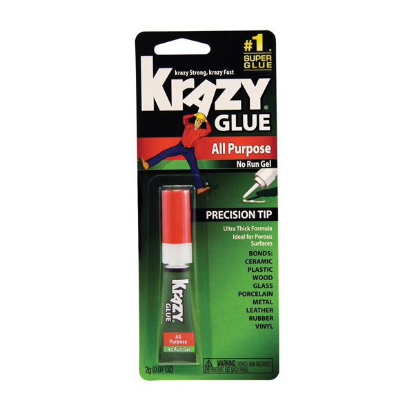 Picture of Krazy Glue KG86648R No-Run Gel Super Glue, Liquid, Irritating, Clear, 2 g Package, Tube