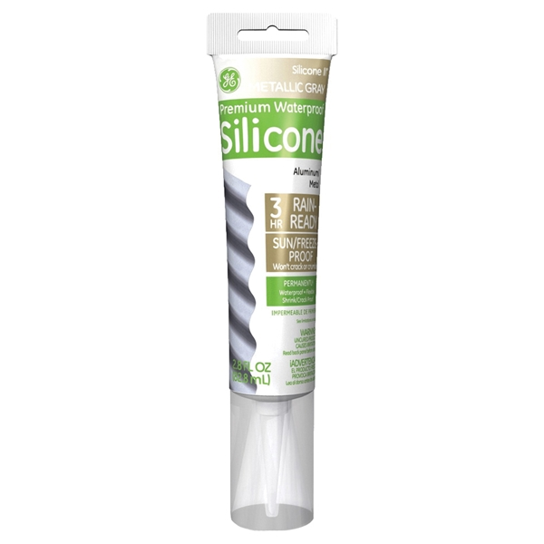 Picture of GE Silicone II GE285 Silicone Caulk, Gray, -55 to 400 deg F, 2.8 oz Package, Tube