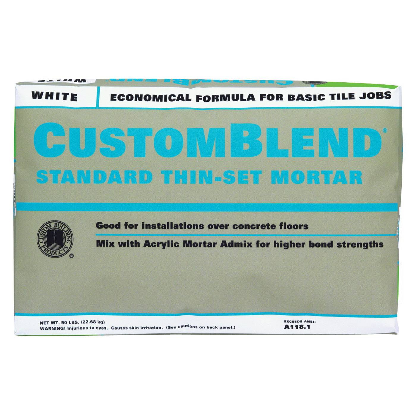 Picture of CUSTOM CBTSW50 Thin-Set Mortar, White, Powder, 50 lb Package, Bag