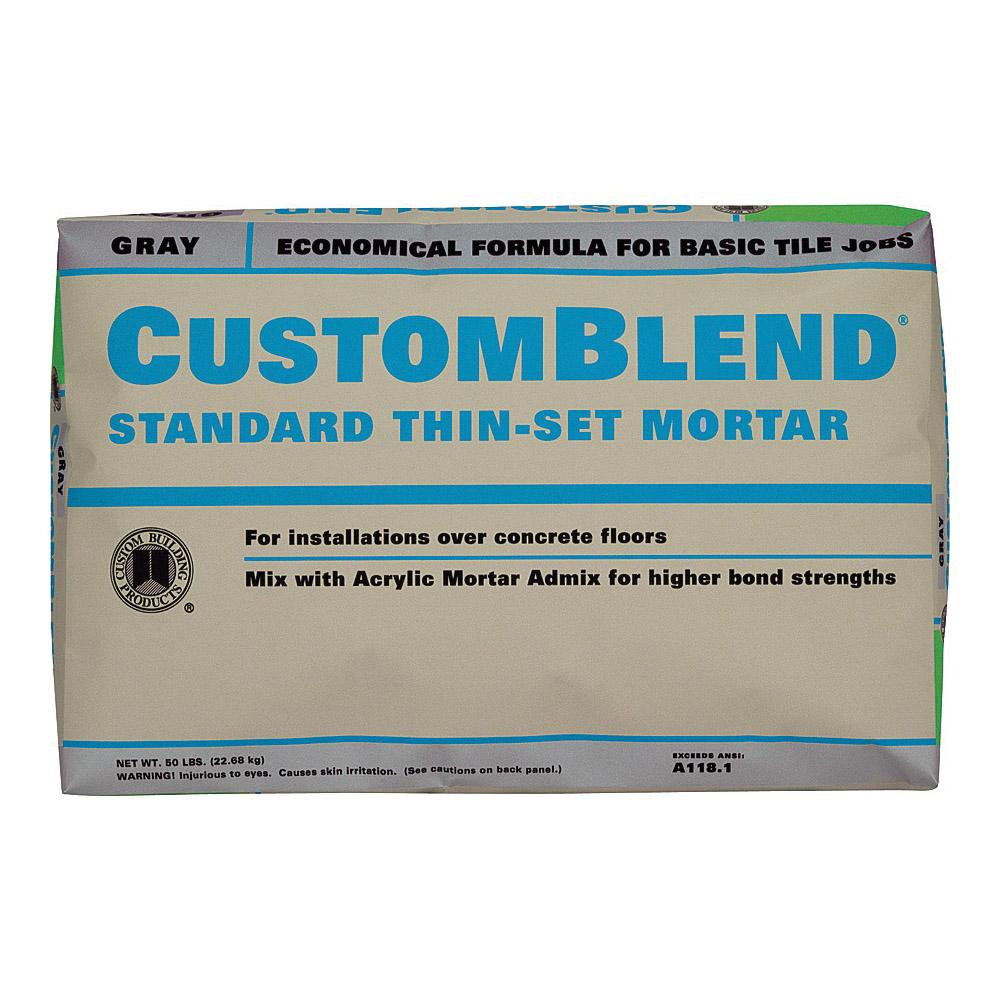 Picture of CUSTOM CBTSG50 Thin-Set Mortar, Gray, Powder, 50 lb Package, Bag