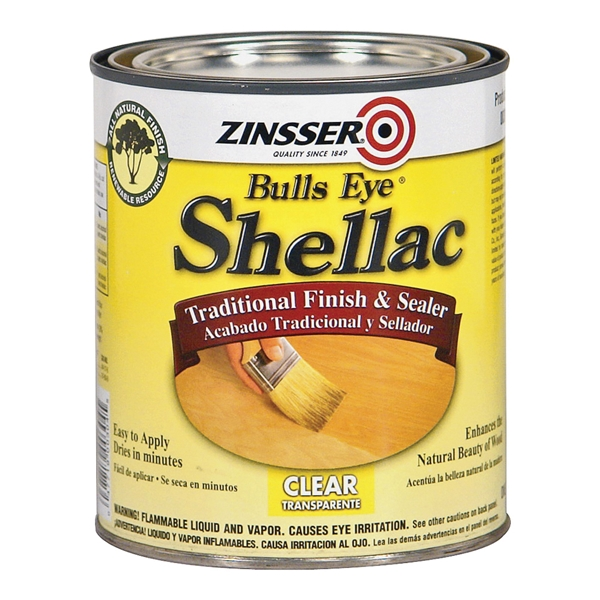 Picture of ZINSSER Bulls Eye 00316 Shellac, Mid-Tone, Clear, Liquid, 0.5 pt, Can