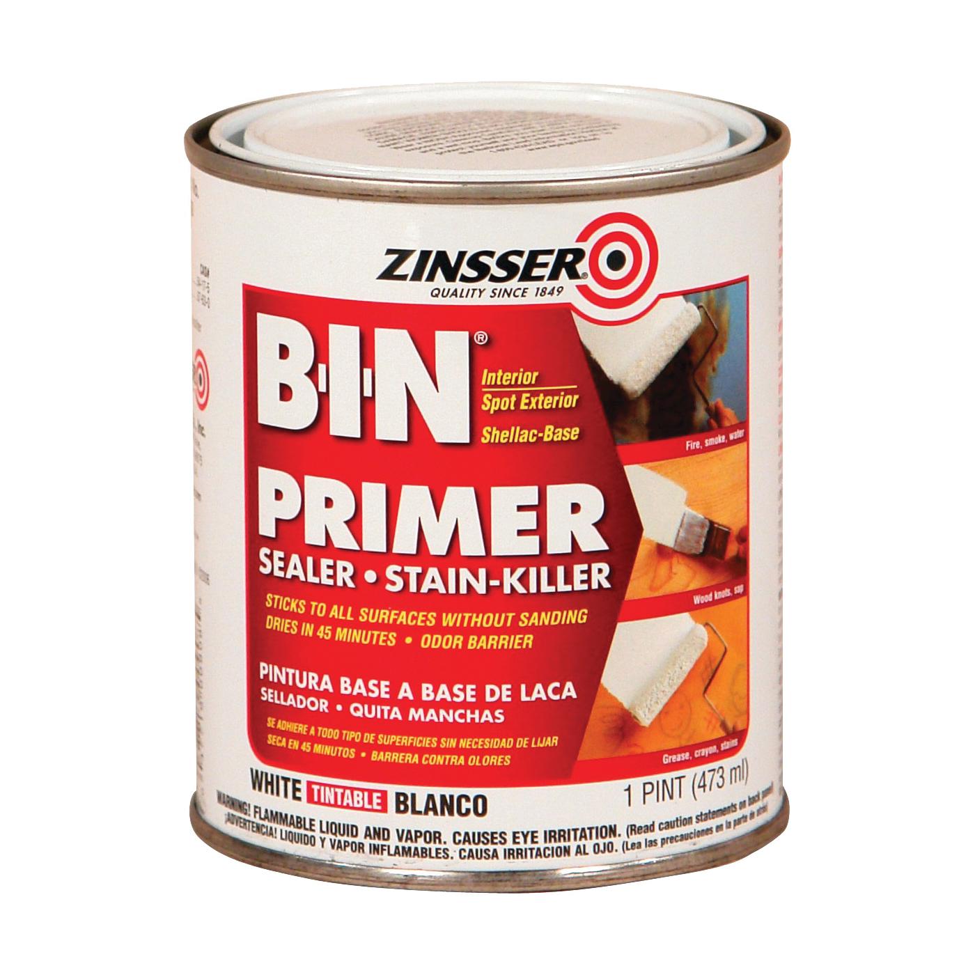 Picture of ZINSSER B-I-N 00908 Shellac-Base Primer, White, 1 pt, Pint
