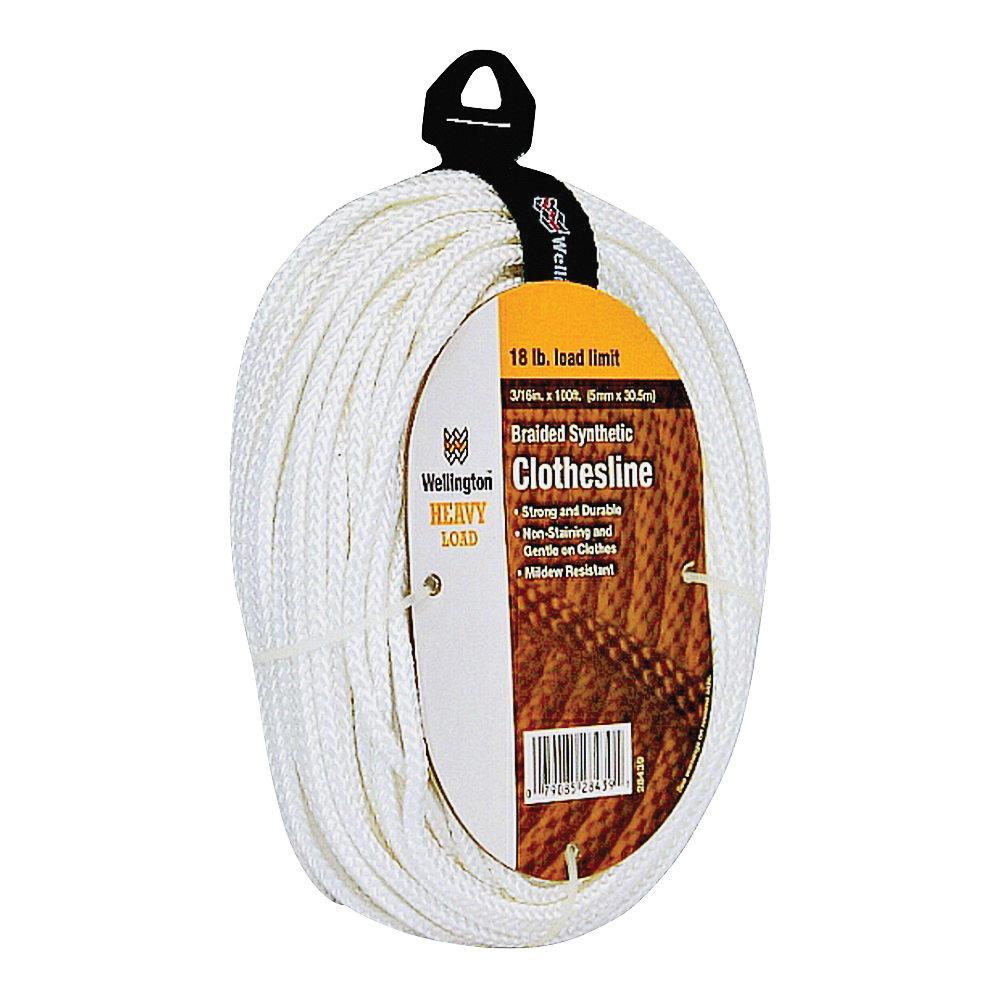 Picture of Wellington Puritan 28439 Braided Clothesline, #6, 100 ft L, Synthetic Fabric, Bright White