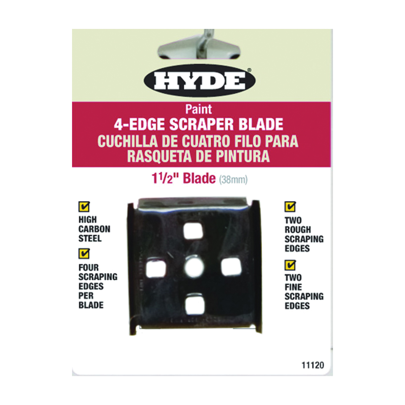 Picture of HYDE 11120 Scraper Blade, Four-Edge Blade, 1-1/2 in W Blade, HCS Blade