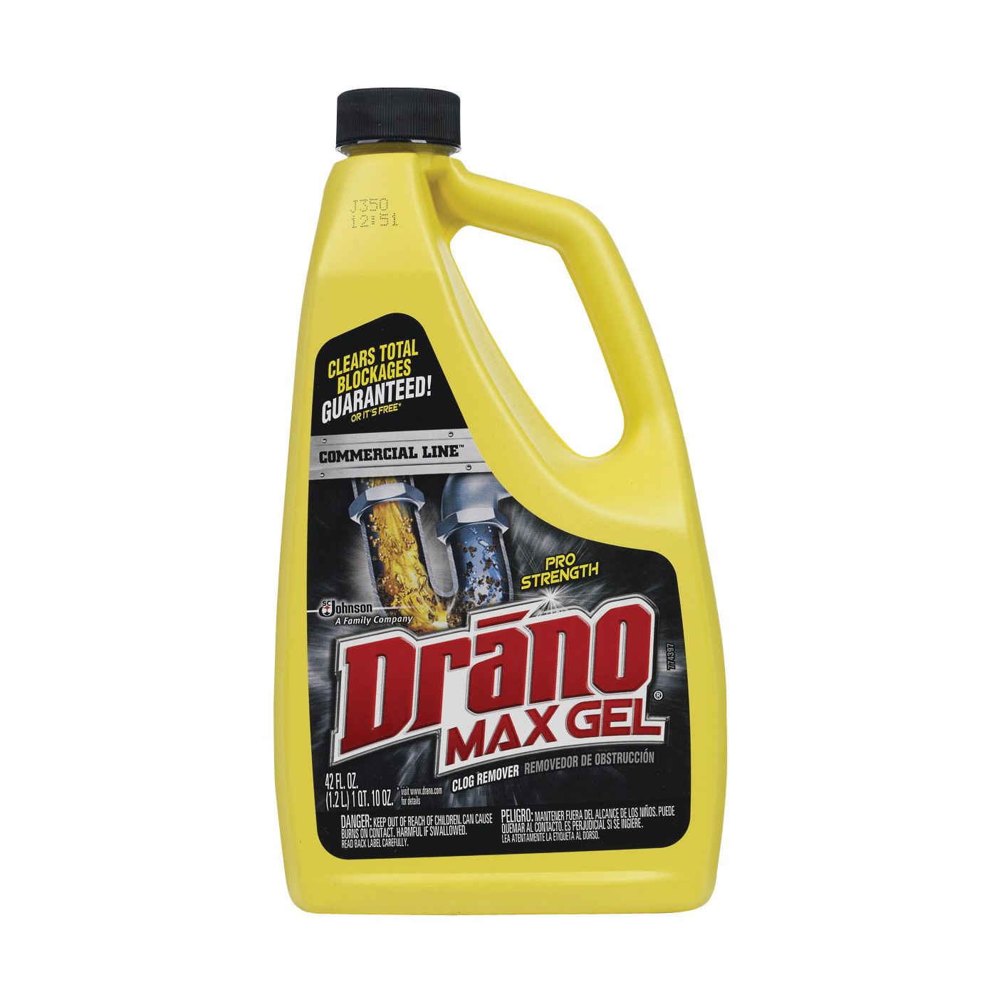 Picture of Drano Max Gel 22118 Clog Remover, Gel, Natural, Bleach, 42 oz Package, Bottle
