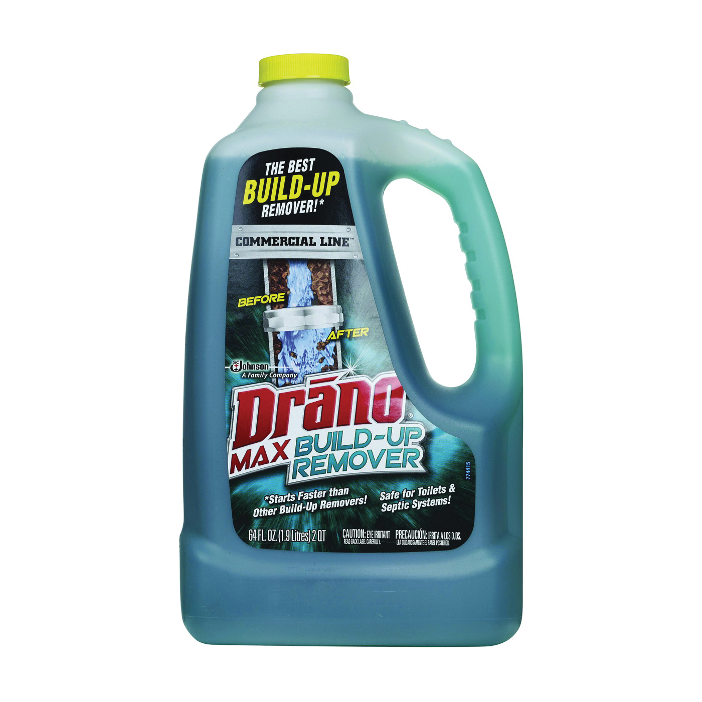 Picture of Drano Max Build-Up 70240 Clog Remover, Liquid, Green, Pleasant, 64 oz Package, Bottle
