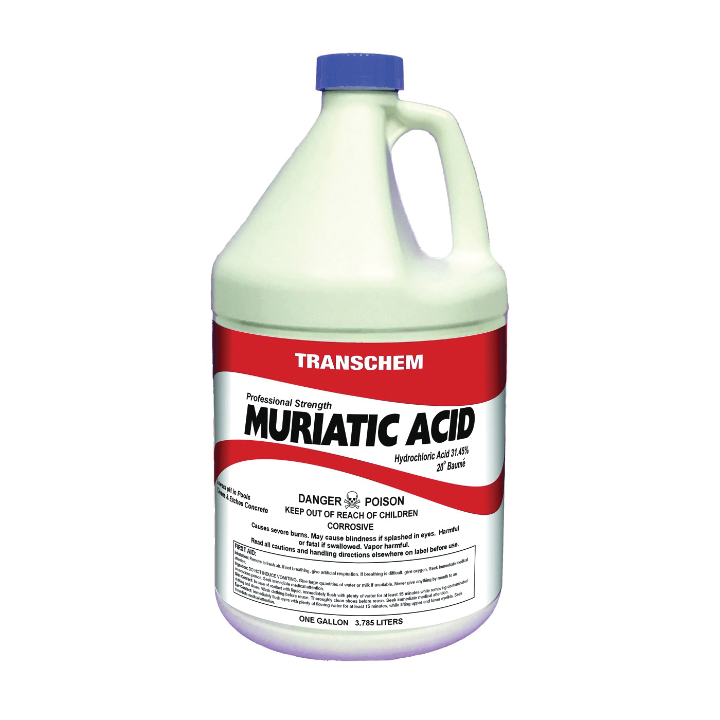 Picture of SUNBELT CHEMICALS MA1 Muriatic Acid, Liquid, Acrid, Pungent, Clear, 1 gal, Bottle