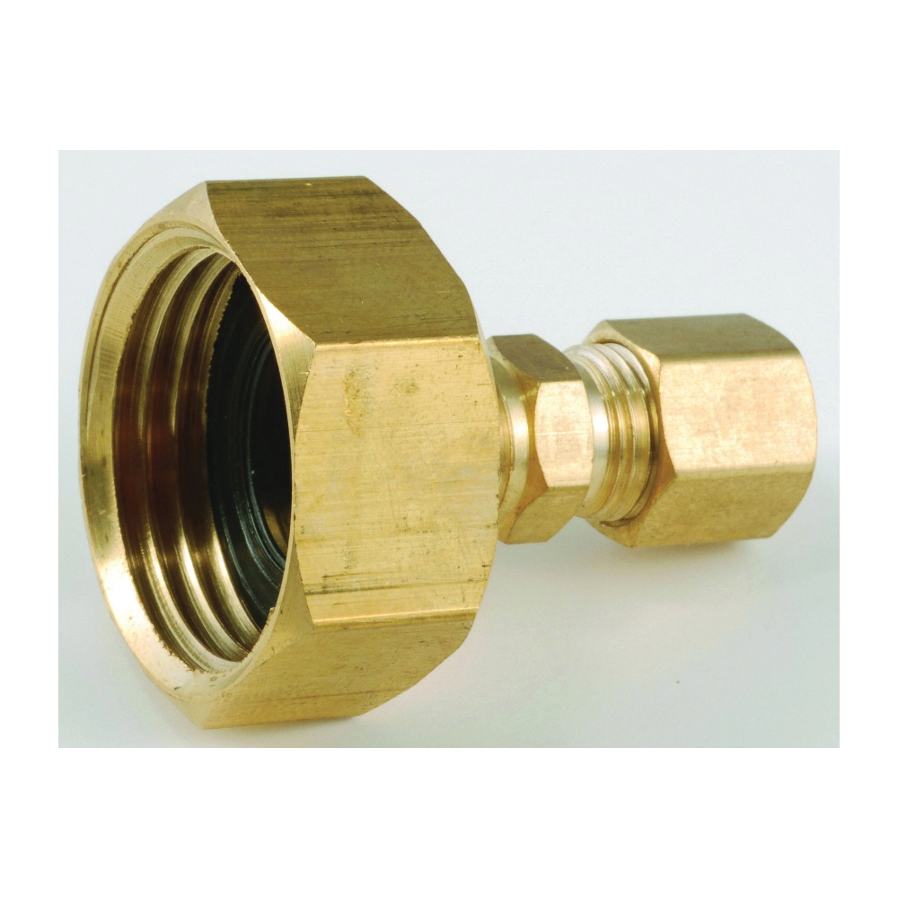 Picture of Anderson Metals 757422-1204 Hose to Tube Adapter, 3/4 x 1/4 in, Female Hose x Compression, Brass