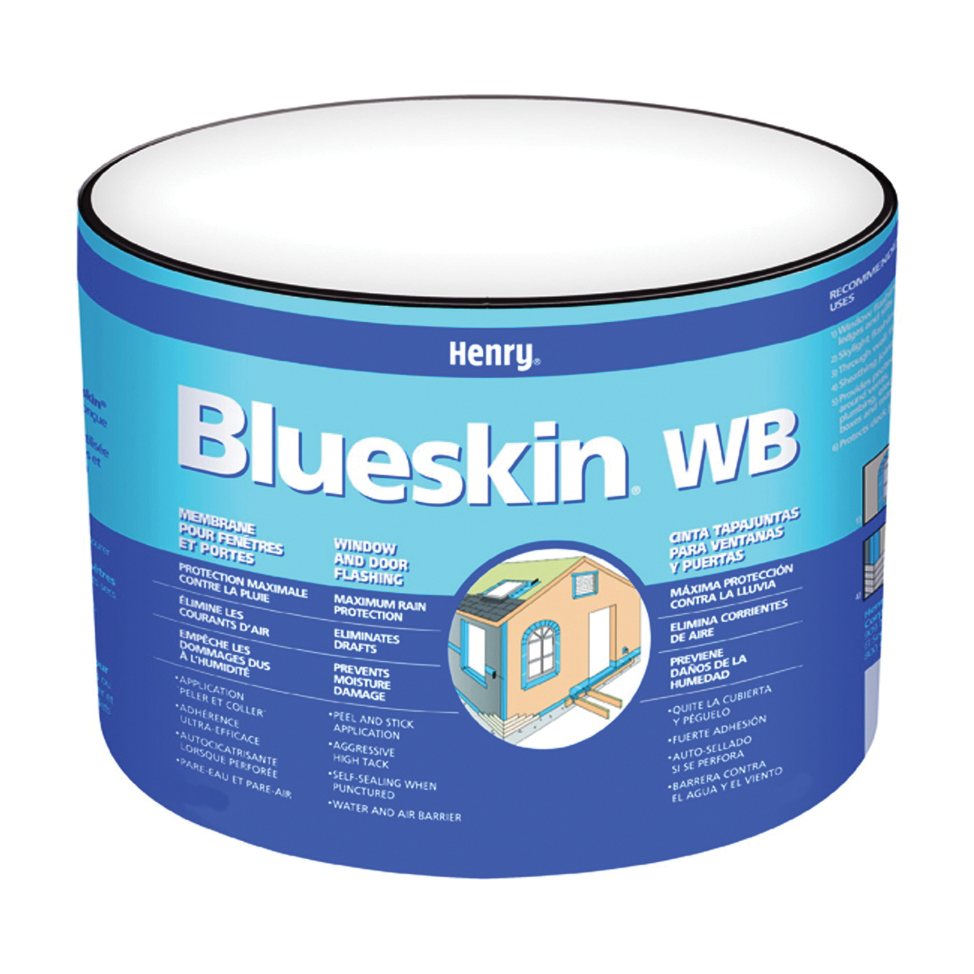 Picture of Henry Blueskin WB25 HE201WB968 Window and Door Flashing, 75 ft L, 6 in W, Paper, Blue, Self Adhesive