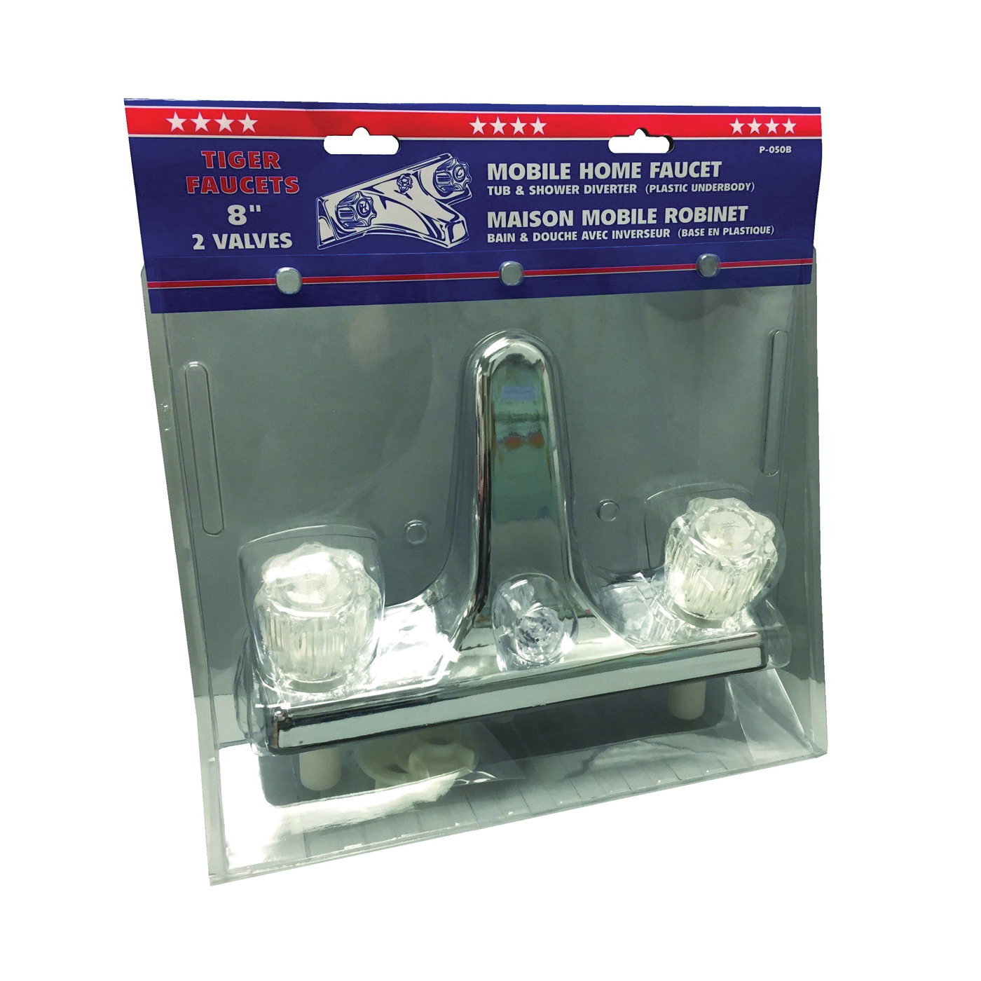 Picture of US Hardware P-050B Tub and Shower Diverter, 2 -Faucet Handle, Plastic, Chrome