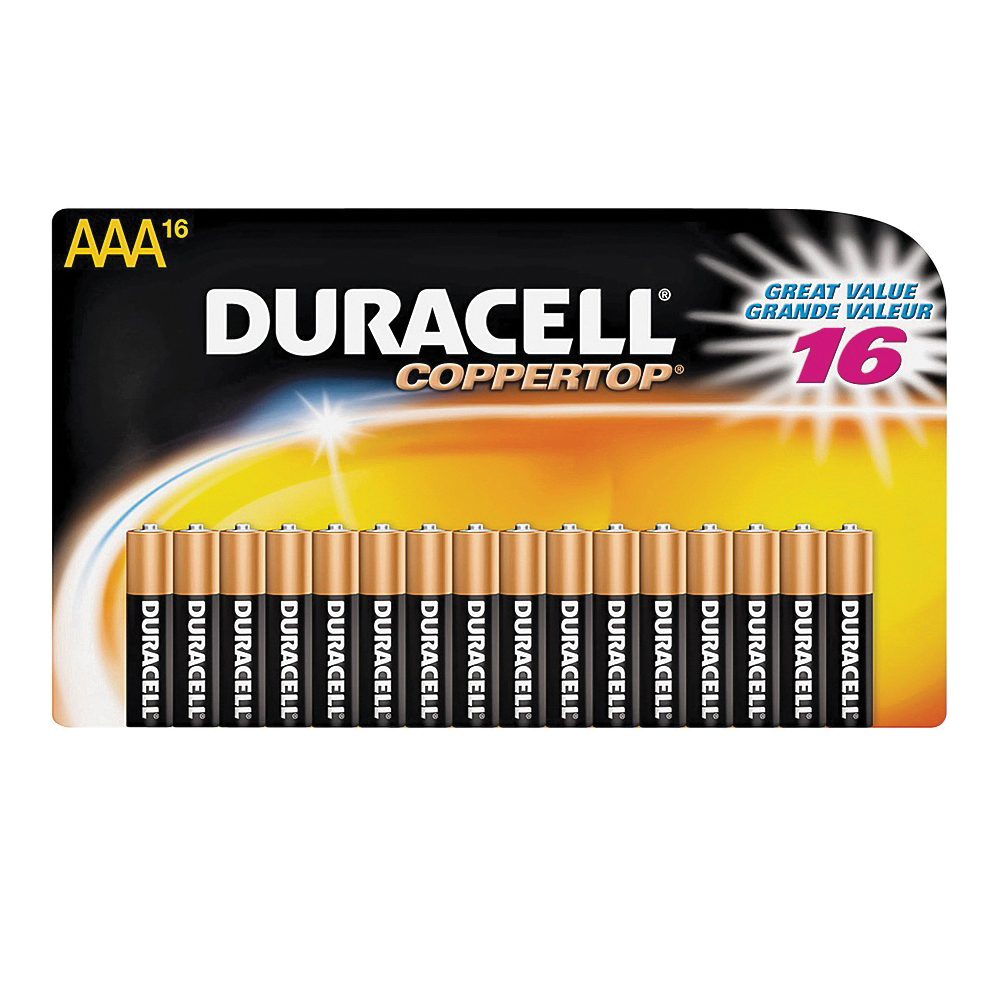 Picture of DURACELL MN2400B16 Alkaline Battery, 1.5 V Battery, AAA Battery, Manganese Dioxide, 16/PK