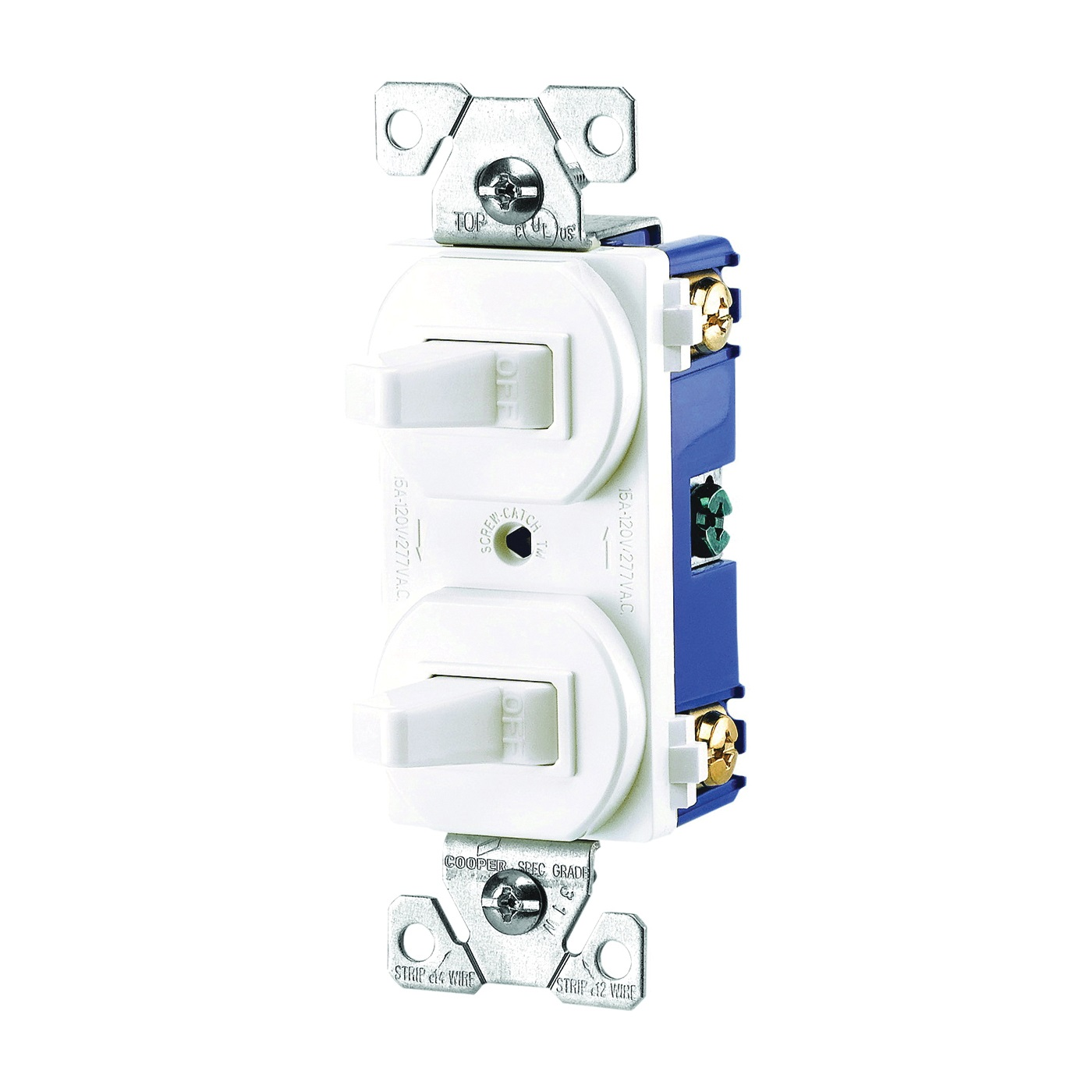 Picture of Eaton Wiring Devices 271W-BOX Combination Toggle Switch, 15 A, 120/277 V, Screw Terminal, Nylon Housing Material