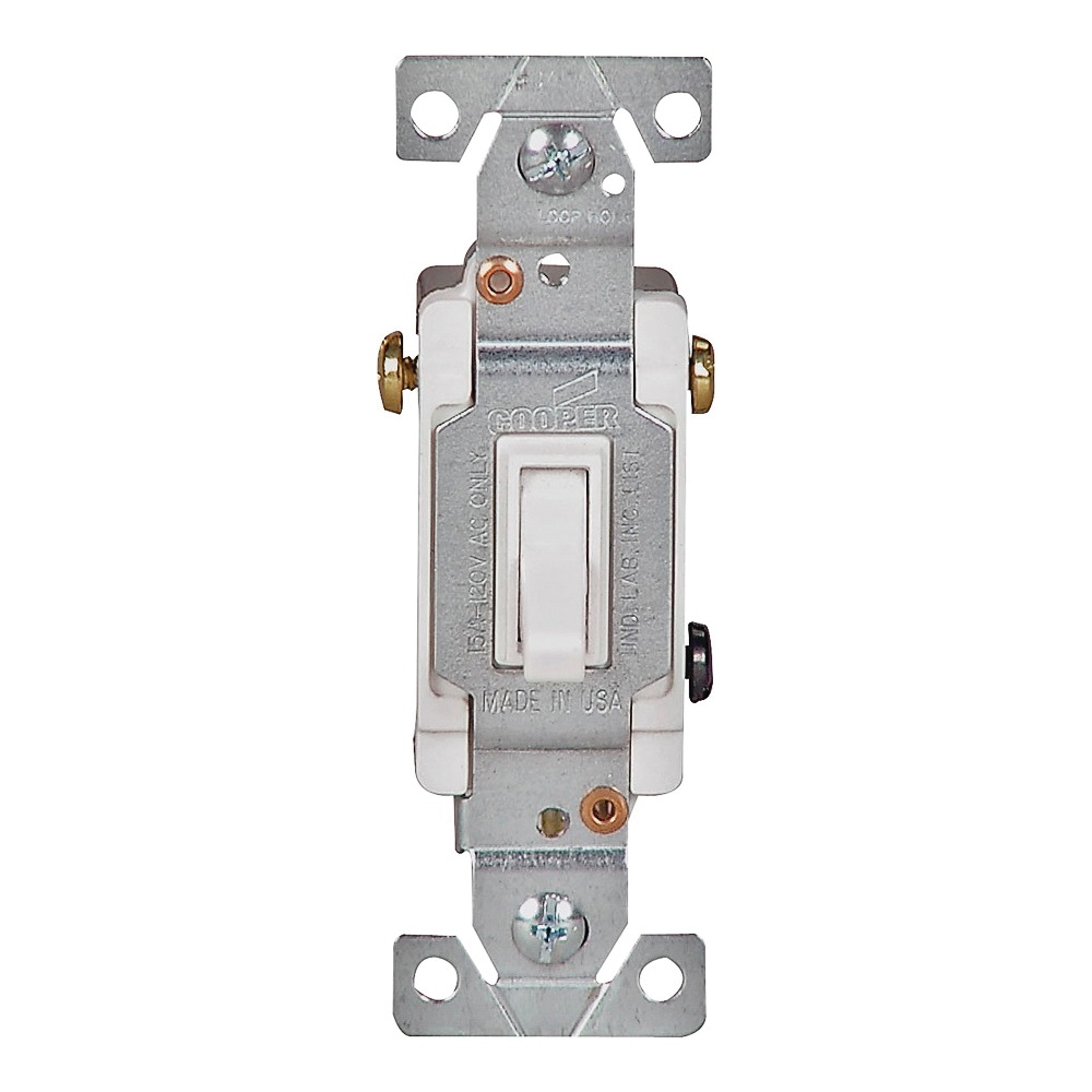 Picture of Eaton Wiring Devices 1303W Toggle Switch, 15 A, 120 V, Polycarbonate Housing Material, White