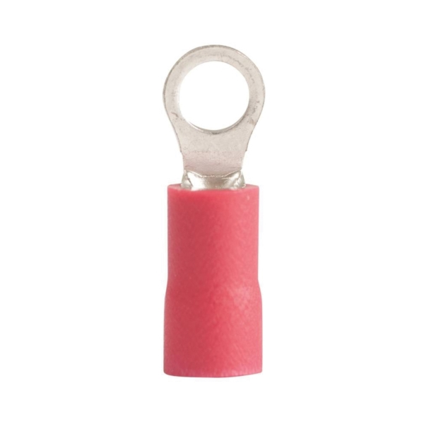 Picture of GB 20-101 Ring Terminal, 600 V, 22 to 18 AWG Wire, #4 to 6 Stud, Vinyl Insulation, Red, 22/Clam