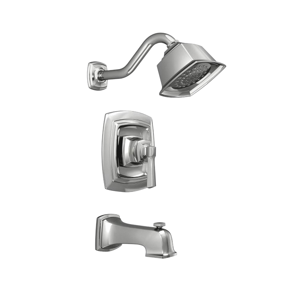 Picture of Moen Boardwalk 82830EP Tub/Shower Faucet, 2 gpm Showerhead, Diverter Tub Spout, 1-Handle, Chrome