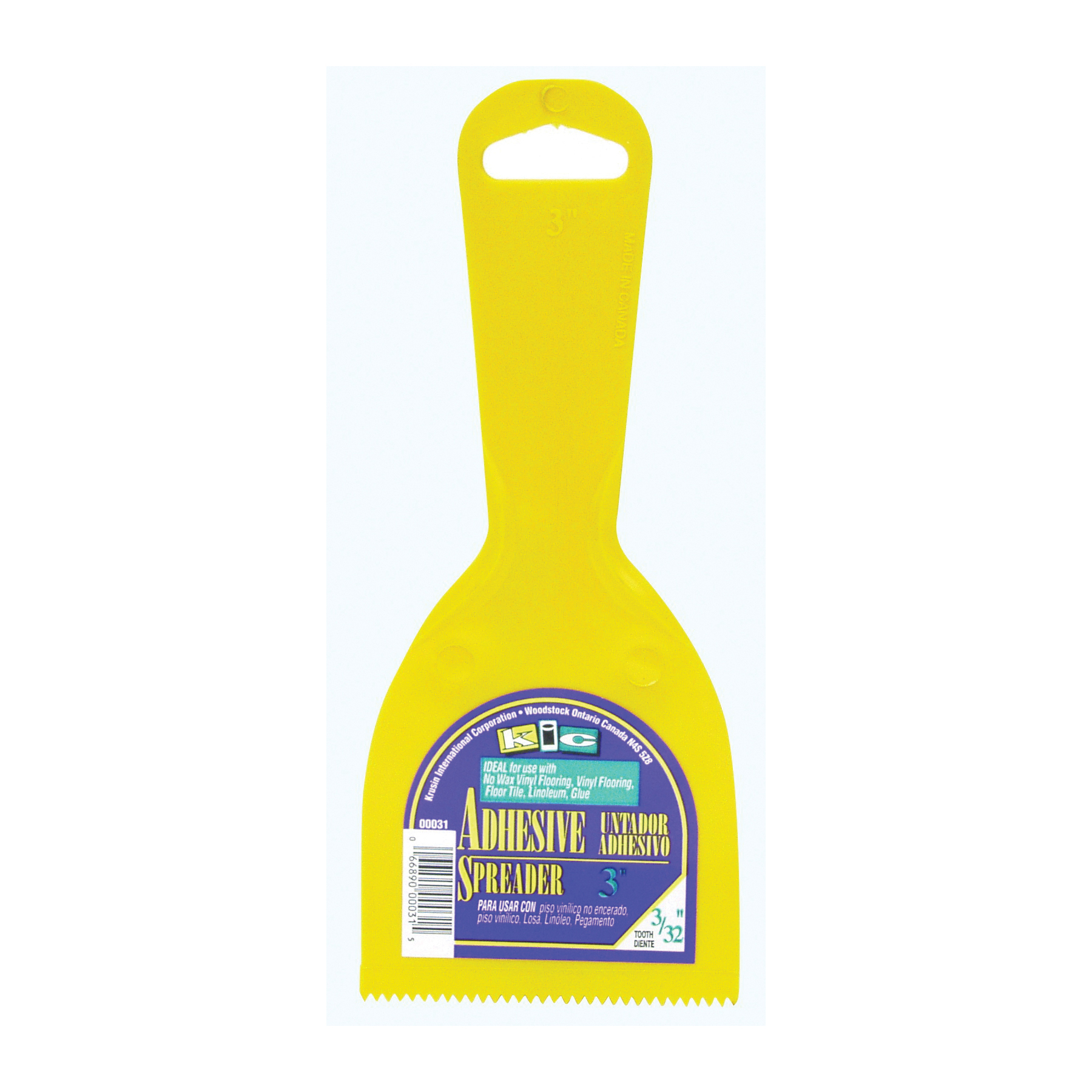 Picture of Homax 40-00031 Adhesive Spreader Knife, Notched Blade, Polystyrene Blade, Polystyrene Handle