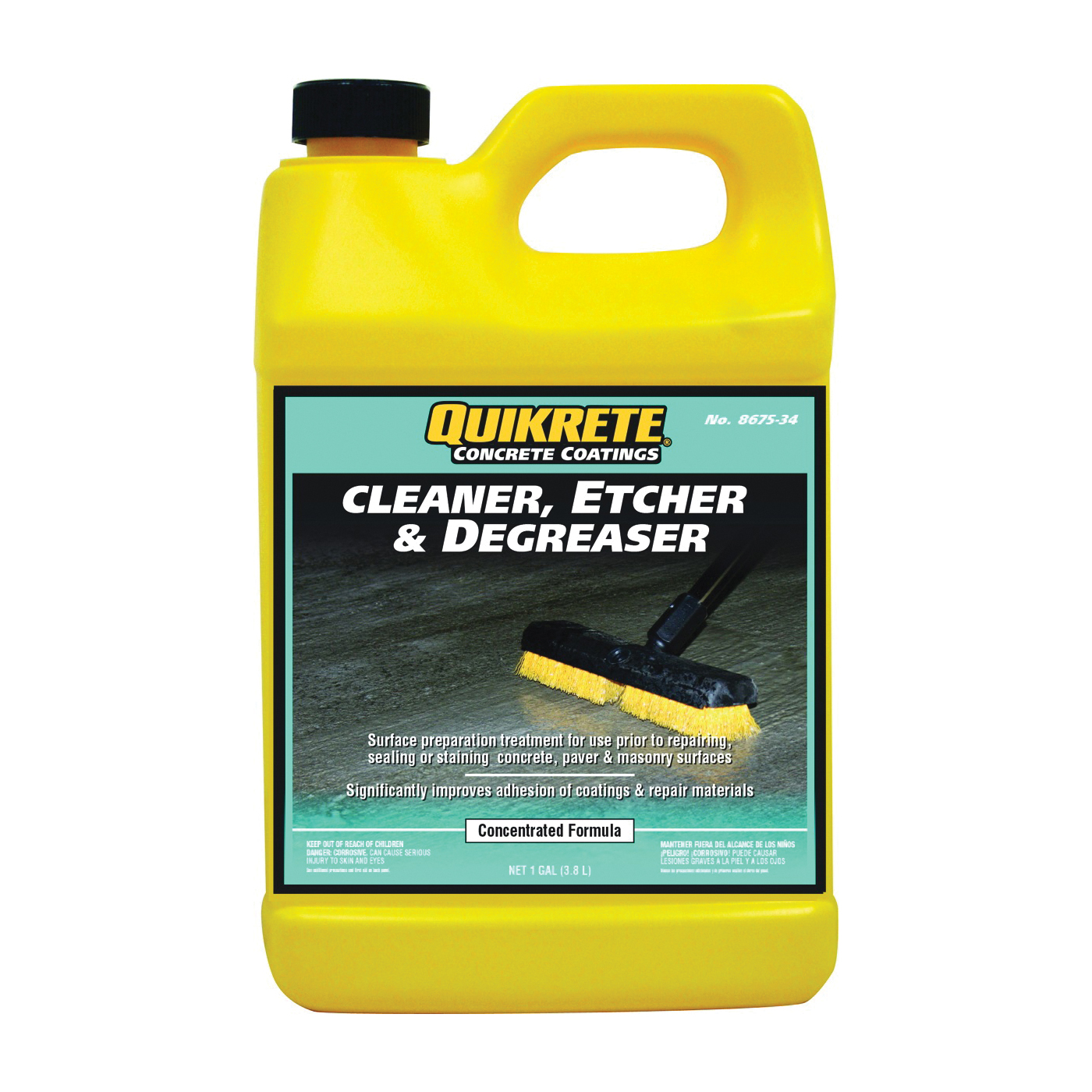Picture of Quikrete 8675-34 Cleaner, Liquid, Mild, Pale Yellow, 1 gal, Bottle