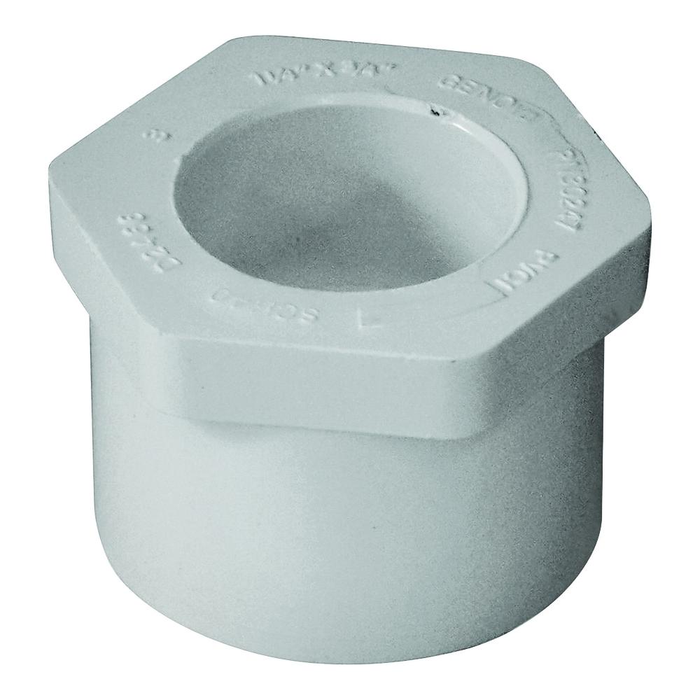 Picture of GENOVA 300 Series 30245 Pipe Reducing Bushing, 1-1/4 x 1/2 in, Spigot x Slip, White, SCH 40 Schedule