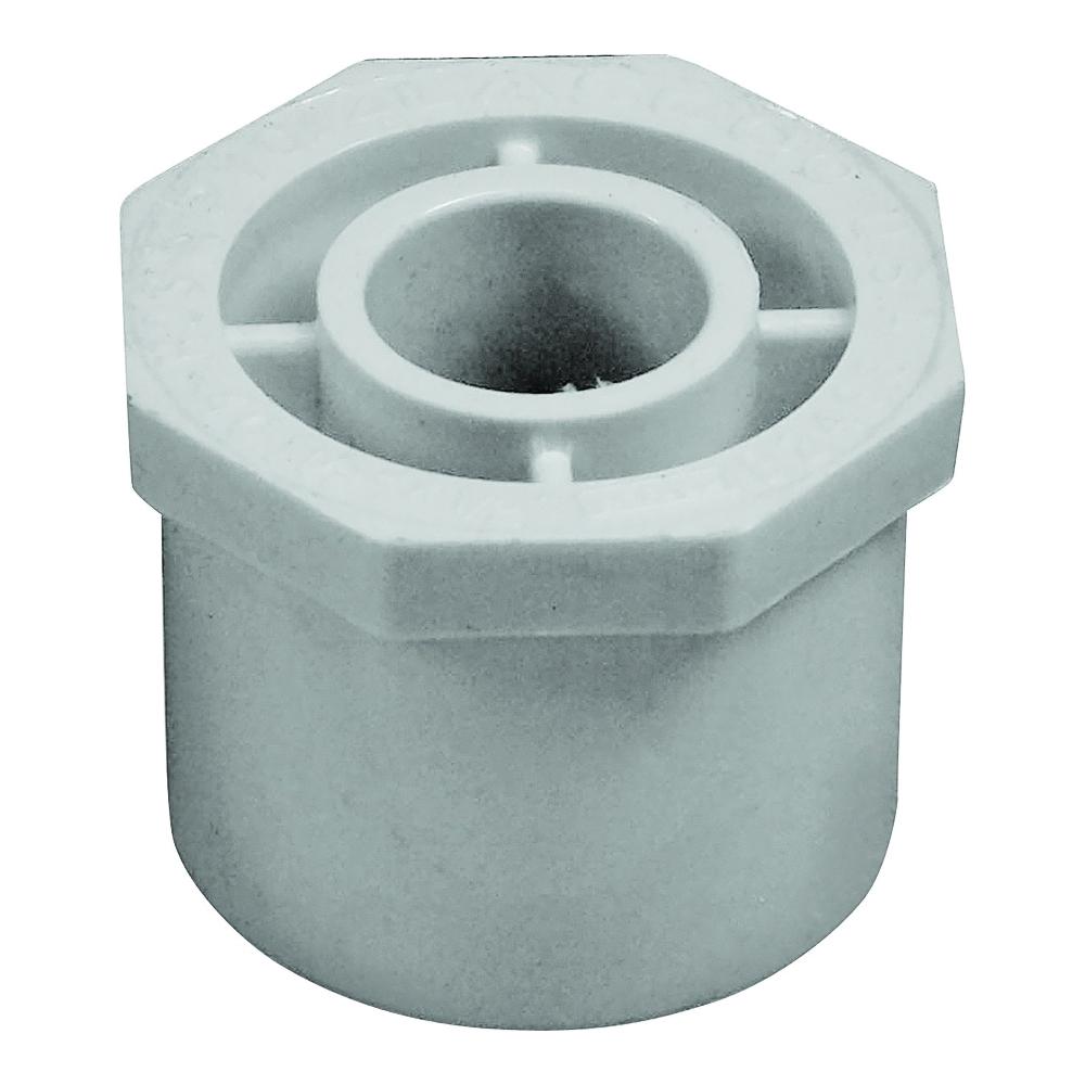 Picture of GENOVA 300 Series 30255 Pipe Reducing Bushing, 1-1/2 x 1/2 in, Spigot x Slip, White, SCH 40 Schedule