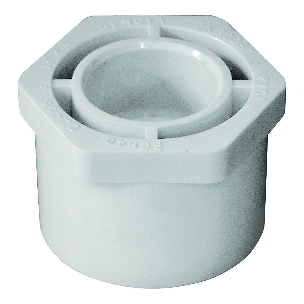 Picture of GENOVA 300 Series 30257 Pipe Reducing Bushing, 1-1/2 x 3/4 in, Spigot x Slip, White, SCH 40 Schedule