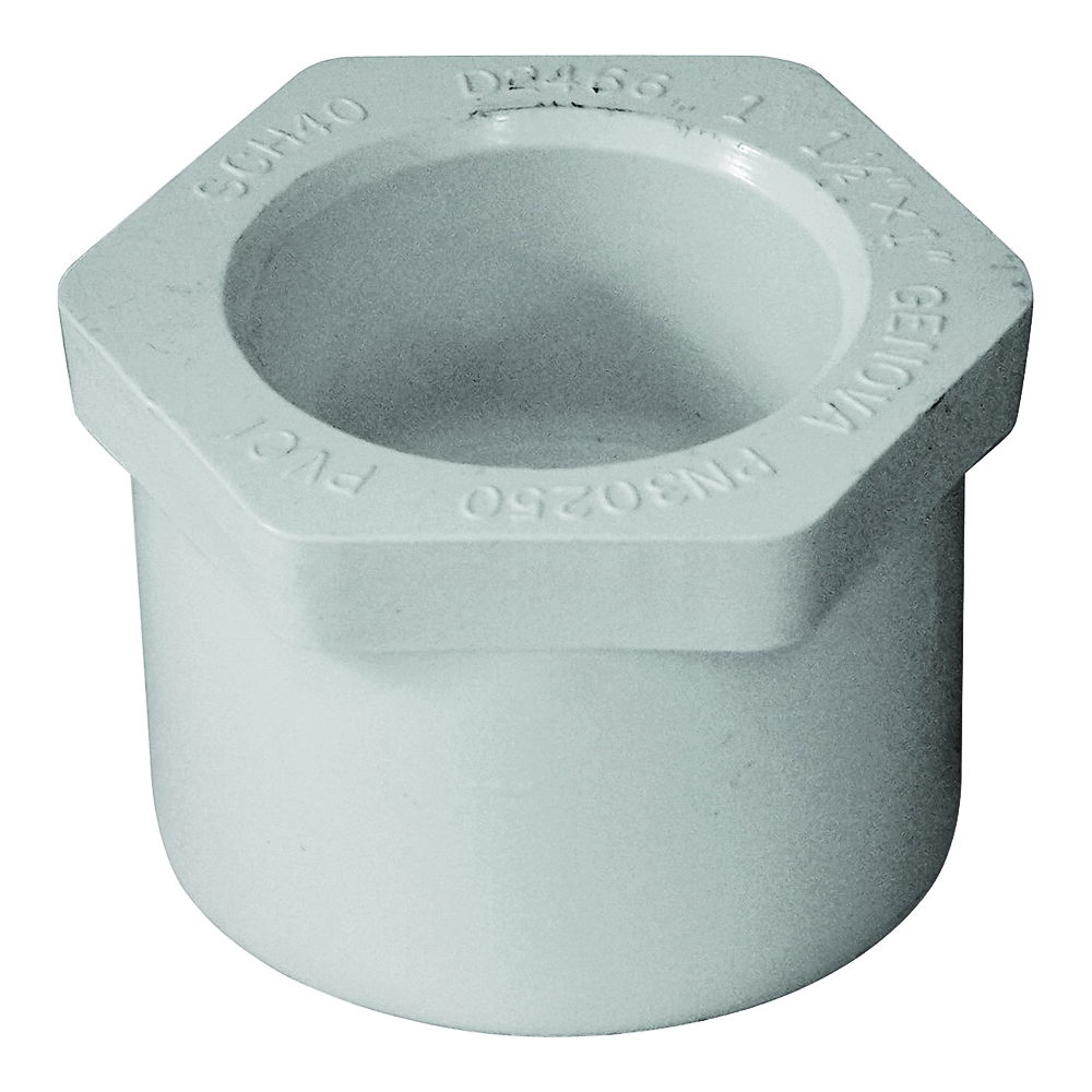 Picture of GENOVA 300 Series 30250 Pipe Reducing Bushing, 1-1/2 x 1 in, Spigot x Slip, White, SCH 40 Schedule