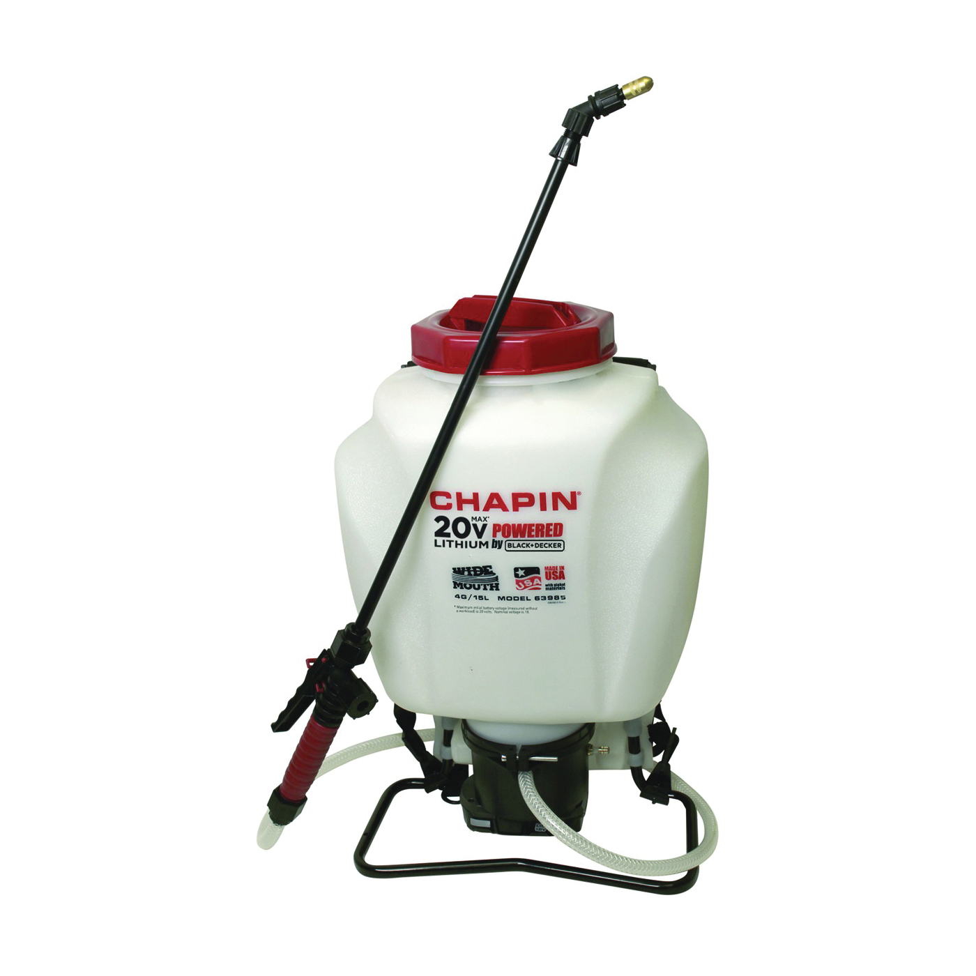 Picture of CHAPIN 63985 Backpack Sprayer, 4 gal Tank, Poly Tank, 20 ft Horizontal, 27 ft Vertical Spray Range, 48 in L Hose