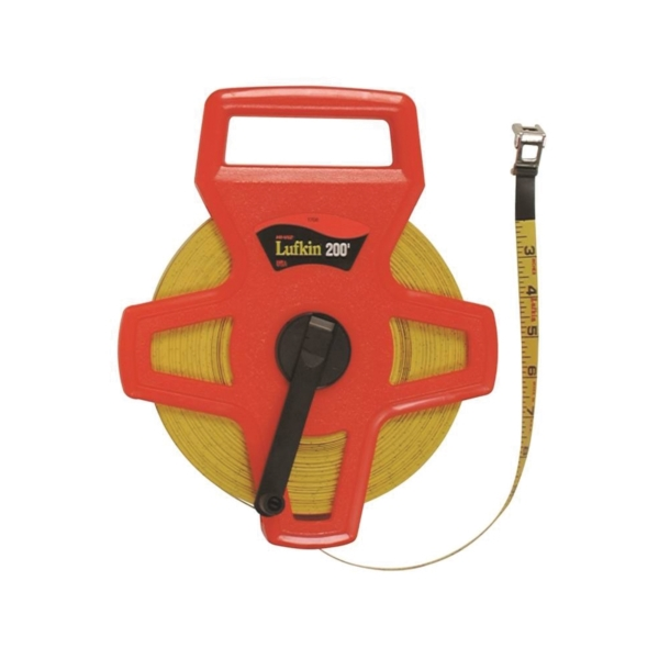 Picture of Crescent Lufkin FE150/1707 Tape Measure, 150 ft L Blade, 1/2 in W Blade, Fiberglass Blade, ABS Case, Orange Case